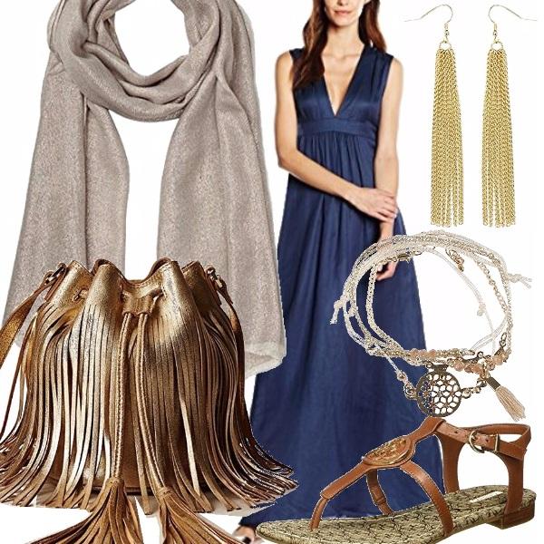 Outfit Blu, oro e ...frange