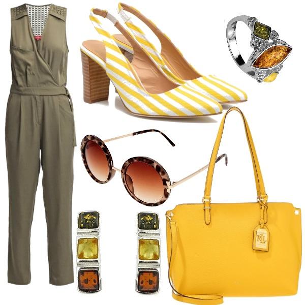 Outfit Giallo e verde militare