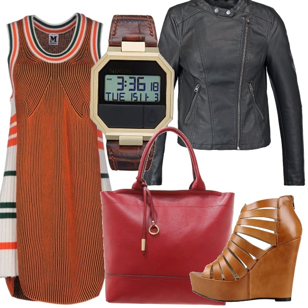 Outfit Black orange