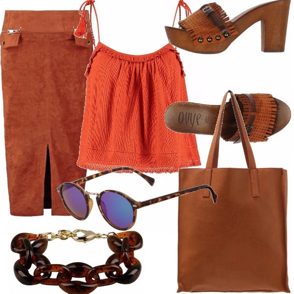 Outfit Arancio e marrone