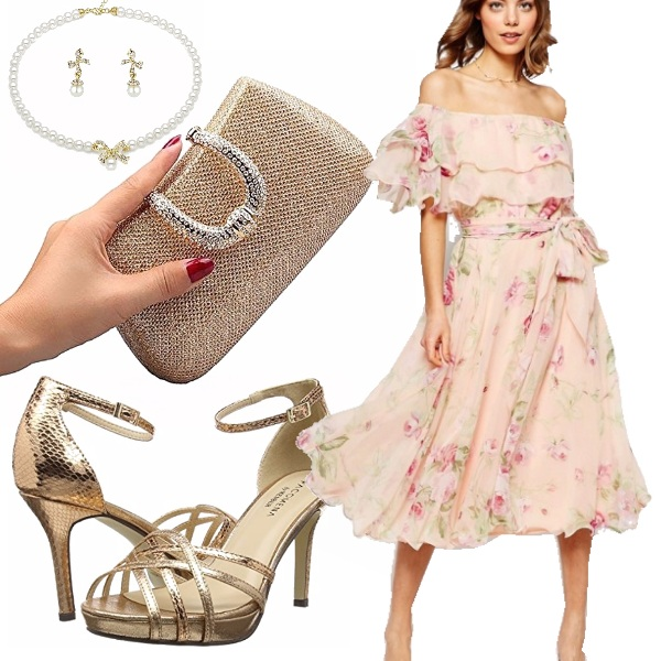 Outfit Cerimonia in stile bardot
