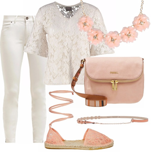 Outfit Pizzo panna e rosa
