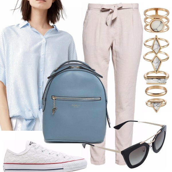 Outfit Beige ed azzurro