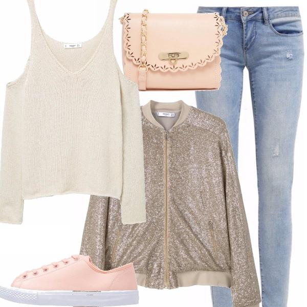 Outfit Look da giorno con un tocco glitter