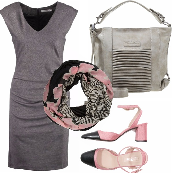 Outfit Miss grey & pink