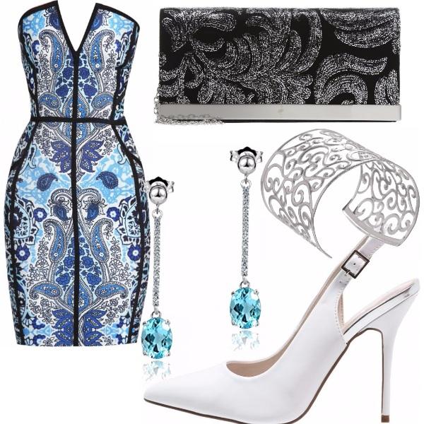 Outfit Fantasia blu, bianca e nera