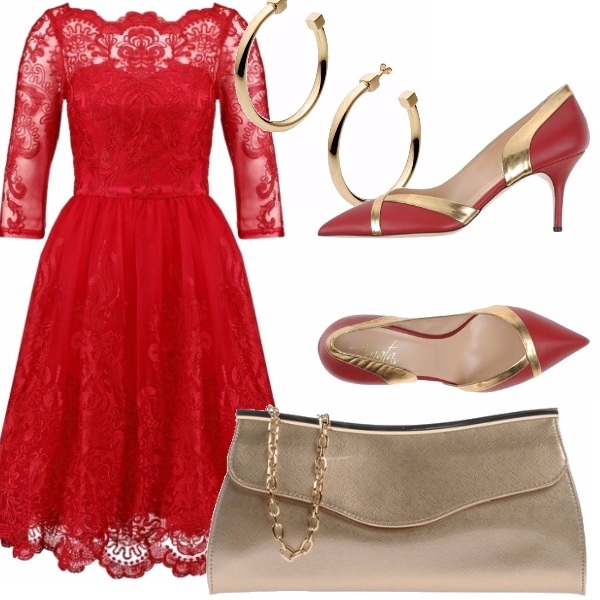 Outfit Pizzo e oro