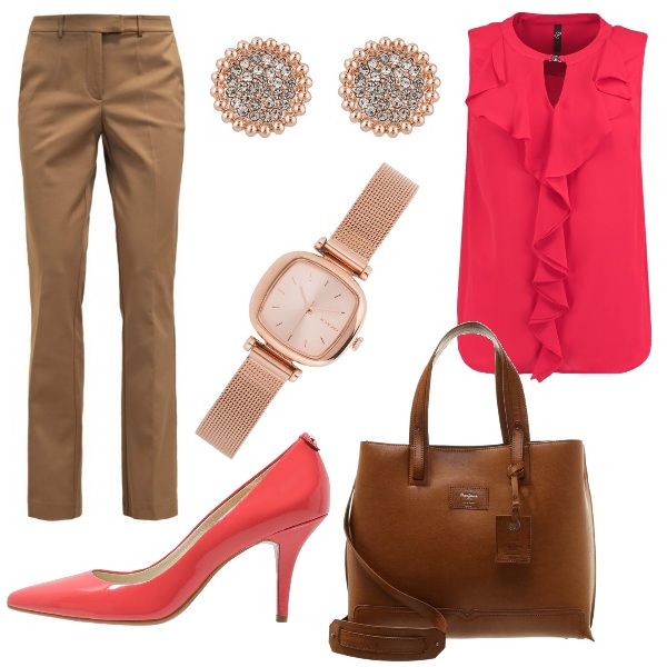 Outfit Red & brown