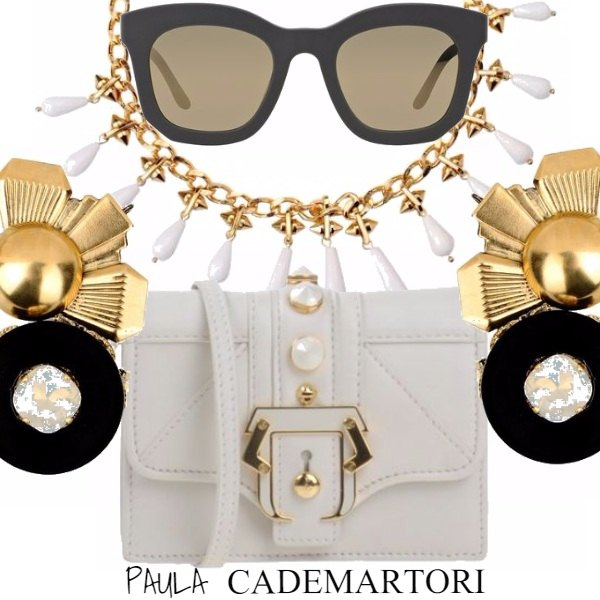 Outfit Paula Cademartori - Black, white & gold