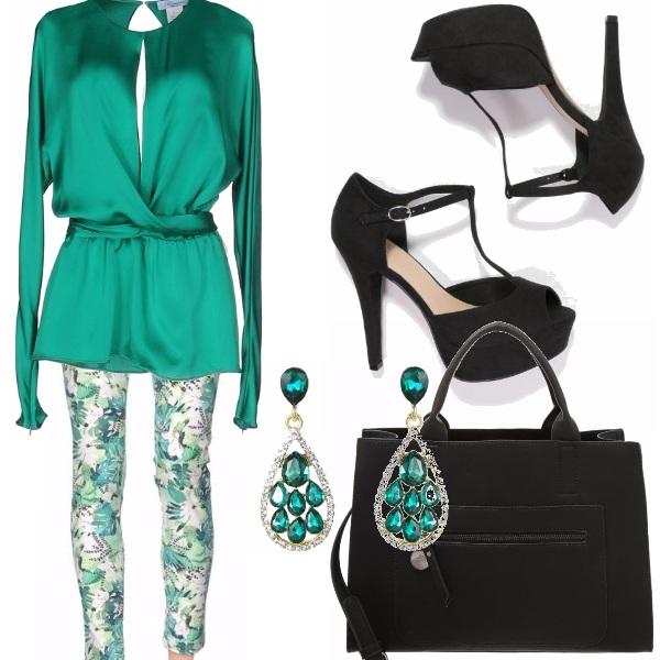 Outfit Camicia verde smeraldo