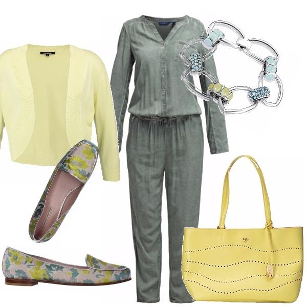 Outfit Verde militare e giallo limone