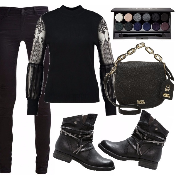 Outfit Total black neo romantic.