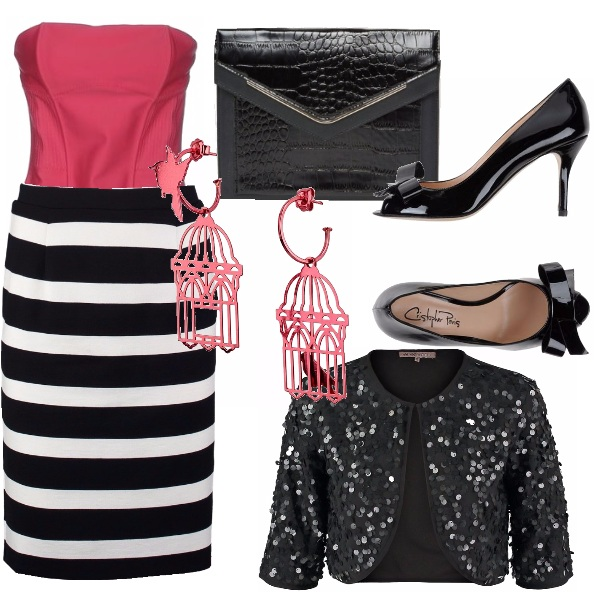 Outfit Pink and black-white