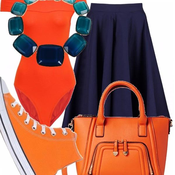 Outfit Arancio-blu