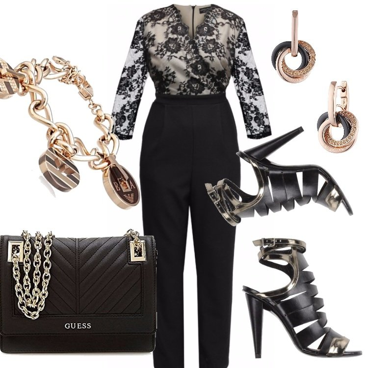 Outfit Curvy black and gold