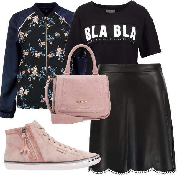 Outfit Con il bomber a fiori