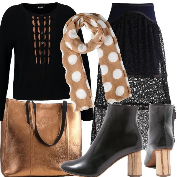 Outfit Nero e bronzo