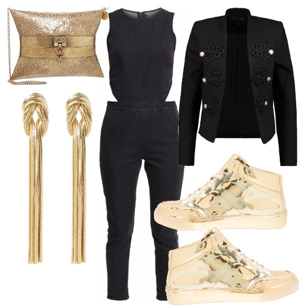 Outfit Sneakers gold in disco