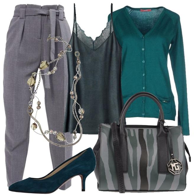 Outfit Sfumature di verde e grigio