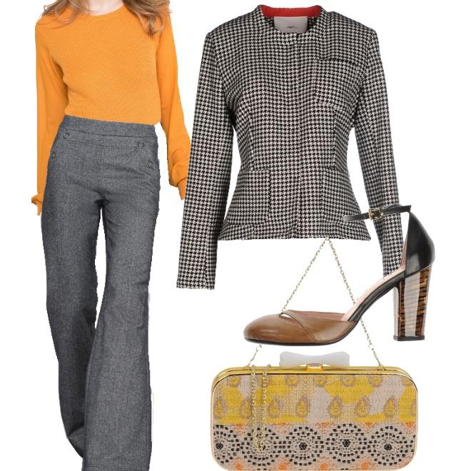 Outfit Pied de poule a contrasto