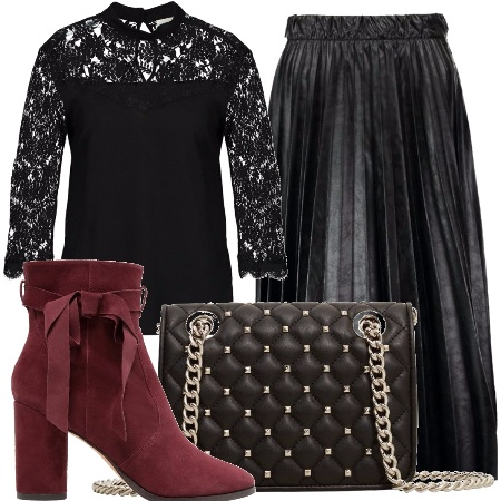 Outfit Eleganza in nero e burgundy