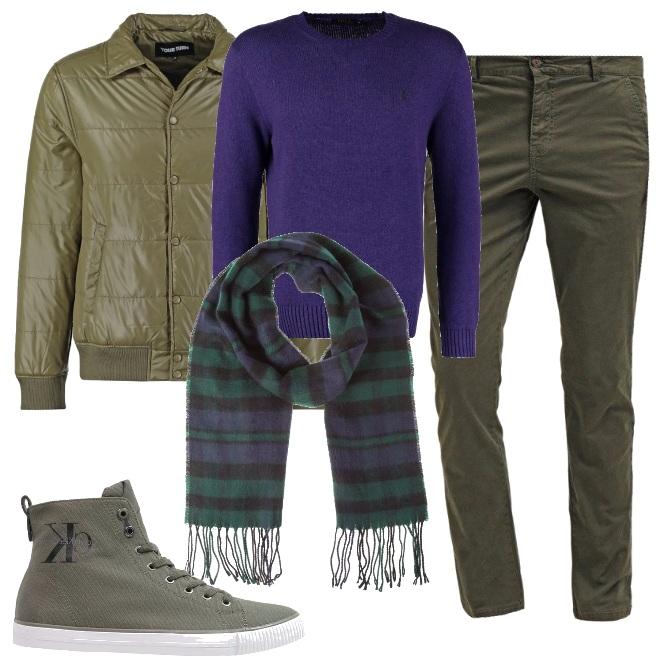 Outfit Verde oliva e pervinca originale