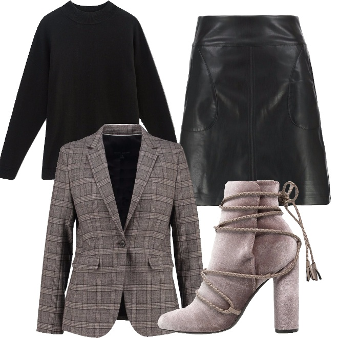 Outfit Gonna in pelle e blazer