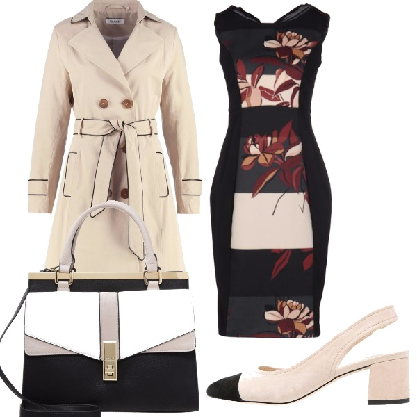 Outfit Vestito fantasia e colori neutri