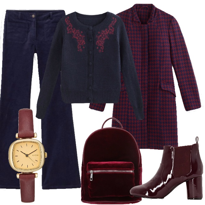 Outfit Casual in blu e burgundy