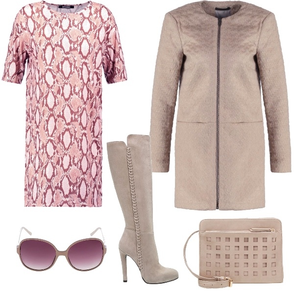 Outfit Rosa e beige