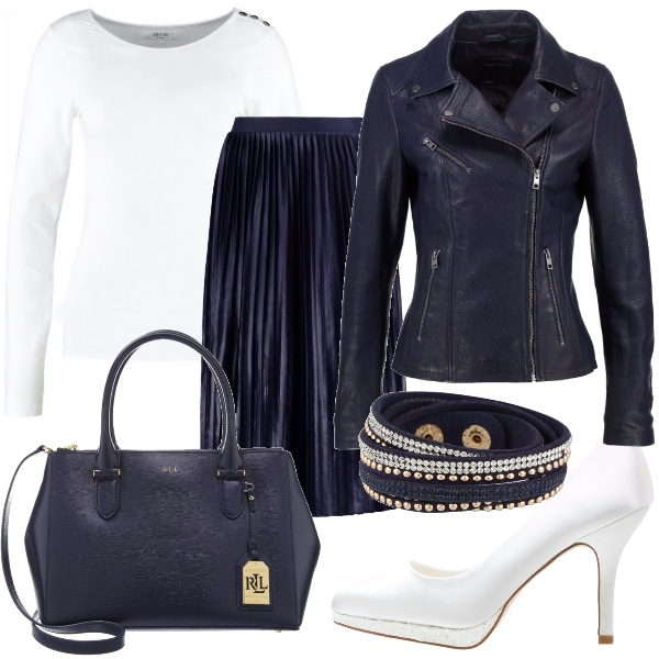 Outfit A spasso in blu e bianco