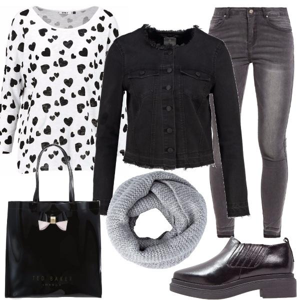 Outfit Cuori neri