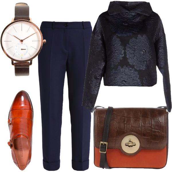 Outfit Incontro tra blu e arancio