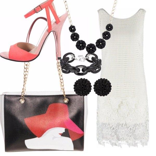 Outfit Bianco, nero e rosso