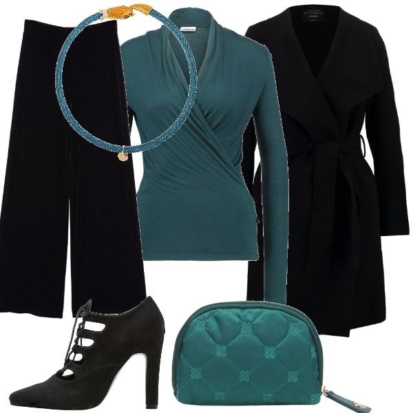 Outfit Nero e petrolio