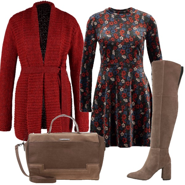 Outfit Margherite rosse e blu