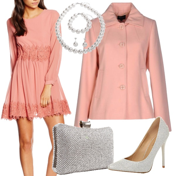 Outfit Pizzo rosa e perle