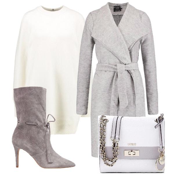 Outfit La delicatezza del bianco e del grigio