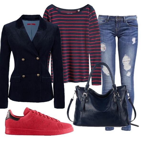 Outfit Stile marinaro in versione rossa