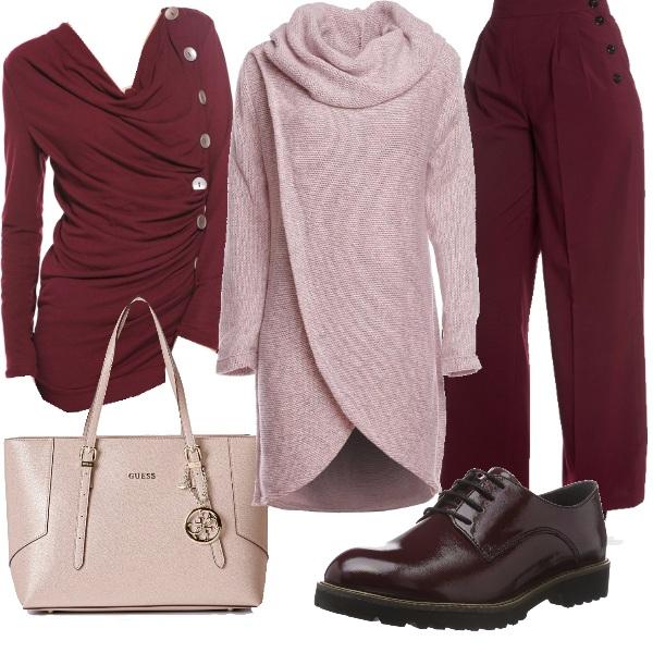 Outfit Burgundy in ufficio