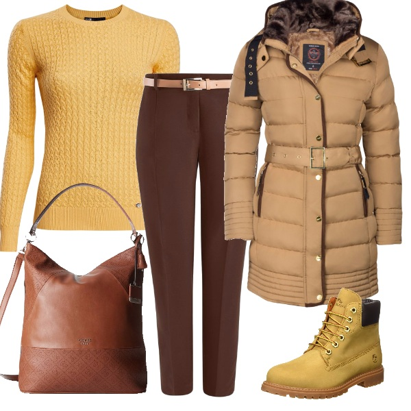 Outfit Ai mercatini di natale in spicy mustard