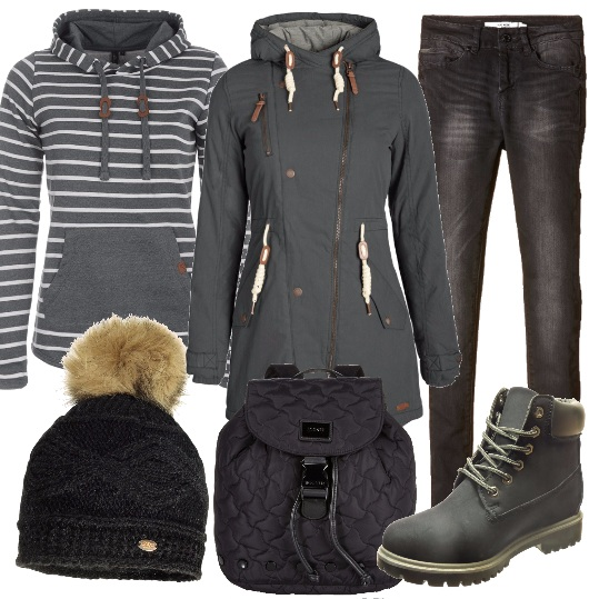 Outfit Week end in montagna in grigio