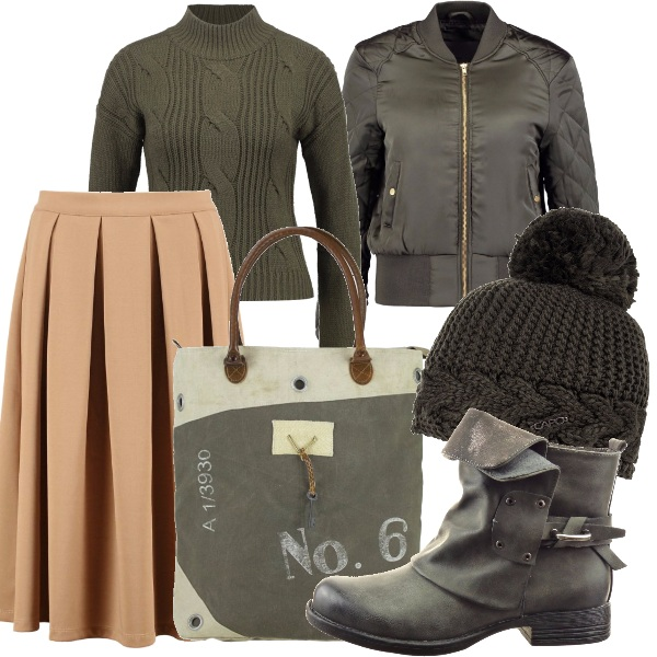 Outfit Un tocco military chic