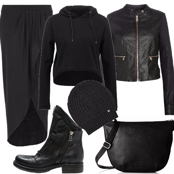 Outfit Aspirante biker, in gonna