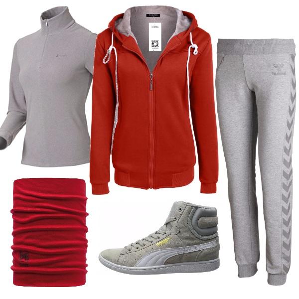 Outfit In forma con rosso e grigio