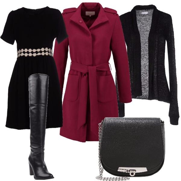 Outfit Nero e windsor wine