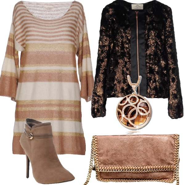 Outfit Chic con effetto lamé