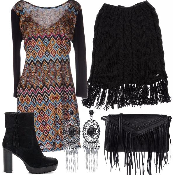Outfit Nero con un tocco di colore