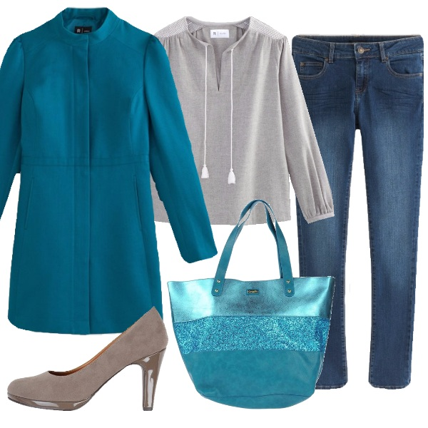 Outfit Cappotto blu pavone