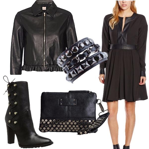 Outfit Nero, pelle e borchie